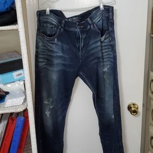 Men's Silver Eddie Distressed Relaxed Fit 38/30